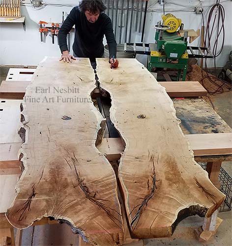 Earl with mesquite slabs for a dining table