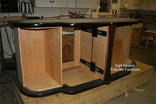 finished cabinet carcass in Earl's shop for custom made art deco cabinet