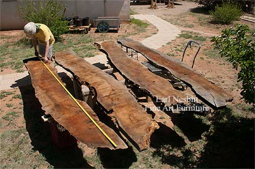 Earl measures mesquite slabs for live edge dining table