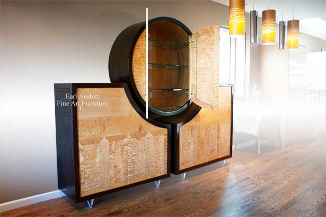 custom made luxury cabinet with both upper doors open revealing glass shelves