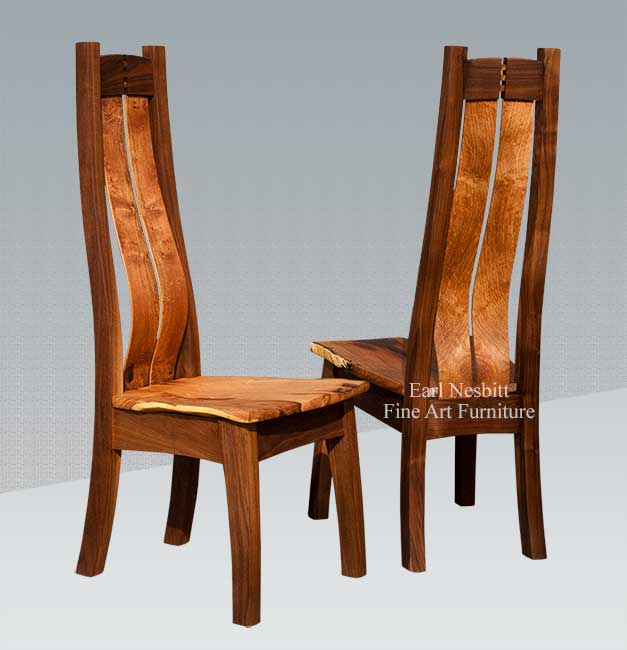 custom made dining chairs made from mesquite and walnut