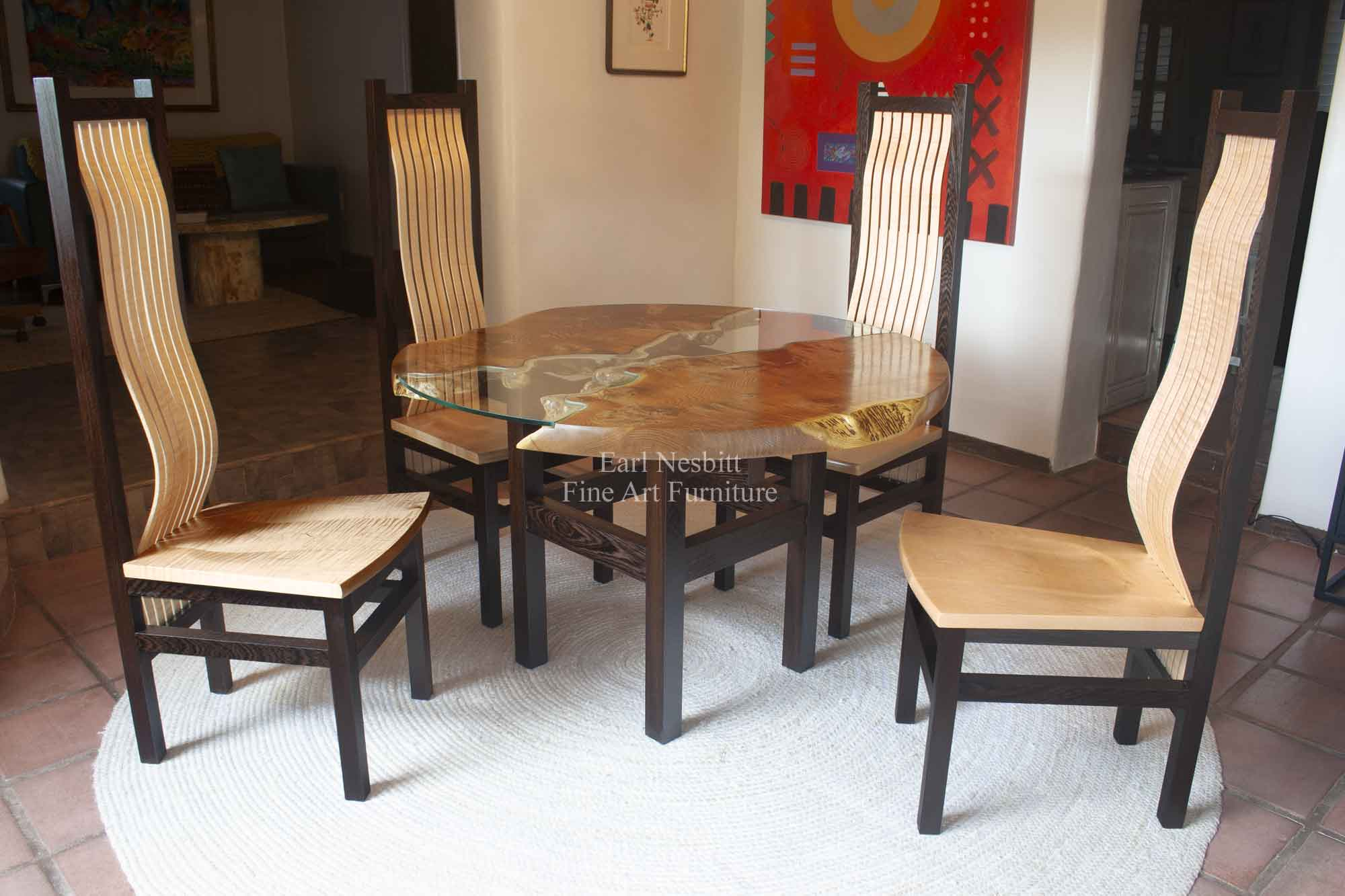 custom made round live edge dining table