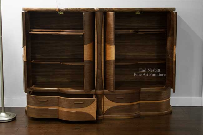 art deco bar cabinet with all doors open and one drawer open and showing adjustable shelves