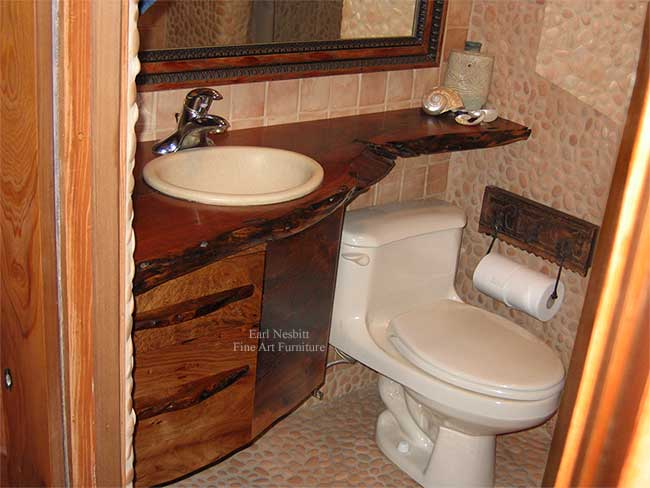 live edge bathroom vanity showing drawer pulls