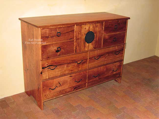 custom made solid mesquite bedroom dresser with all doors and drawers closed