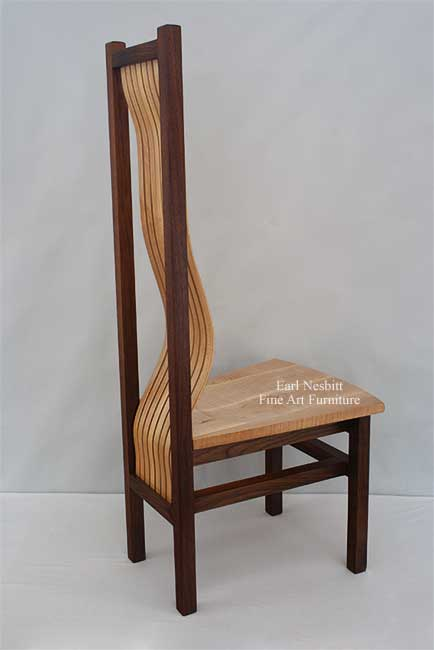 custom made dining chair side view showing curved back support