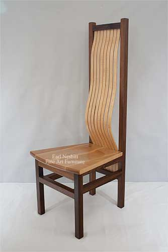 curly maple and walnut dining chair