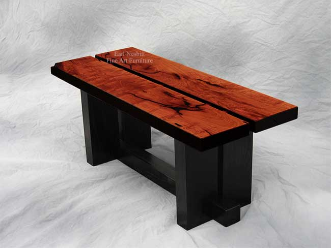 custom made designer coffee table showing highly figured Sonoran Honey Mesquite top