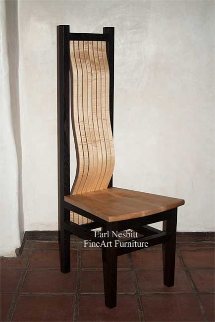 custom made comfortable dining chair showing solid curly maple seat