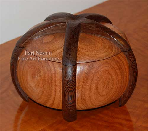 mesquite and wenge custom jewelry box shown with lid