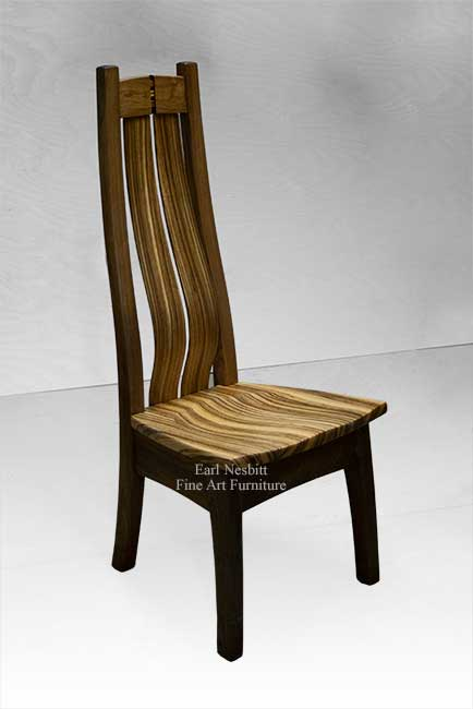 custom made desk chair showing sculpted zebrawood seat