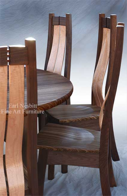 custom made dining chair showing curved back slats