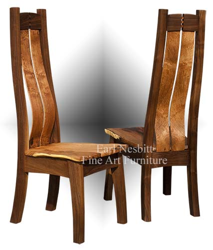custom made live edge chair showing back, front and sculpted seat