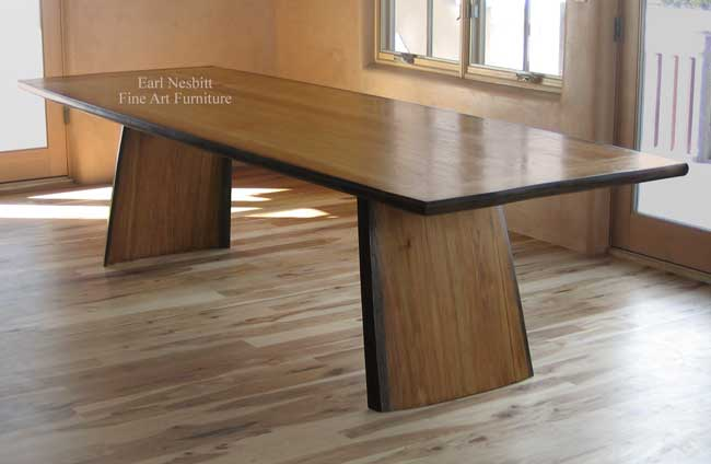 custom made hickory table installed showing top and legs