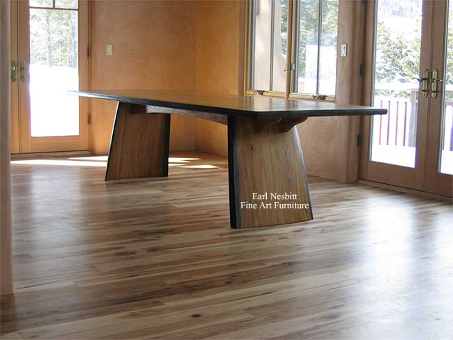 custom made hickory table showing notched fork joint base