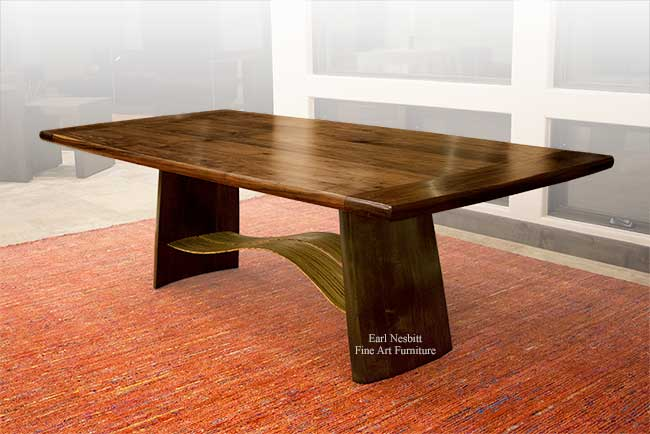 custom made contemporary dining table showing zebrawood slats in base