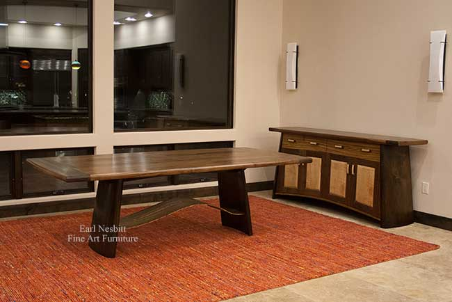 custom made contemporary dining table with matching cabinet
