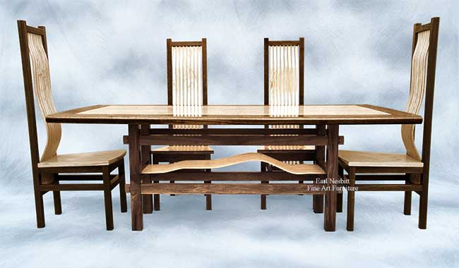 craftsman dining table with four chairs shown