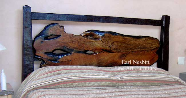 custom mesquite headboard close up showing slab
