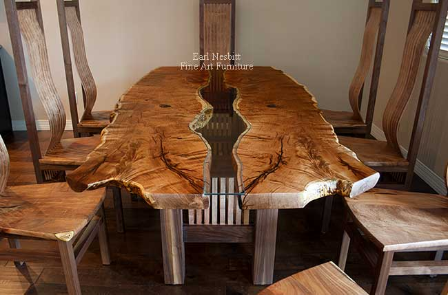 mesquite live edge table end view from above showing custom fit tempered glass inlay and mesquite slats in base