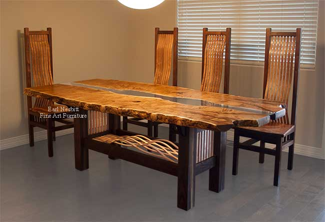 mesquite live edge table showing alternating mesquite slats in base and edge of mesquite top with four chairs