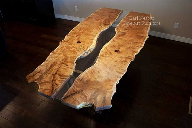 mesquite live edge table from above showing bookmatched Sonoran Honey Mesquite top