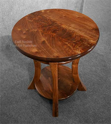 custom made modern end table showing figure in mesquite top