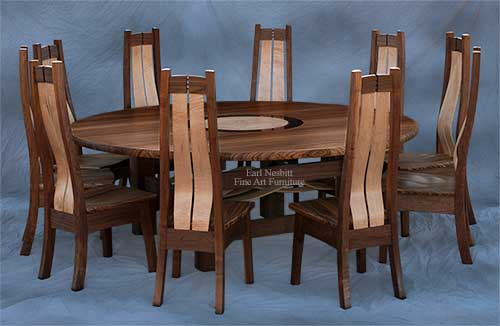 handmade round dining table set