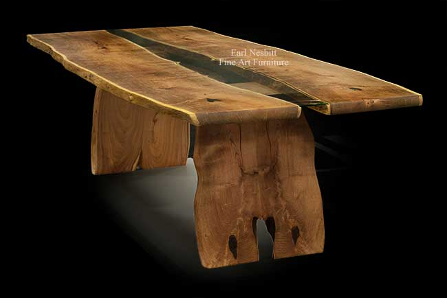 wood slab table shows bookmatched top